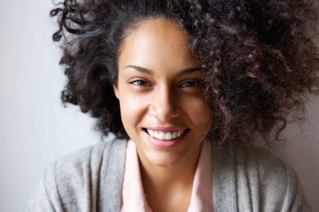 beautiful afro-american woman with bright smile